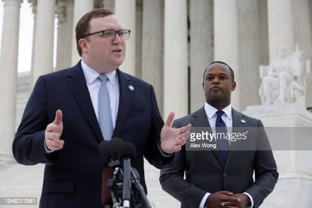 Attorney Matt Kuhn speaks as Kentucky Attorney General Daniel Cameron listens after the oral arguments of the Cameron v. EMW Women's Surgical Center...