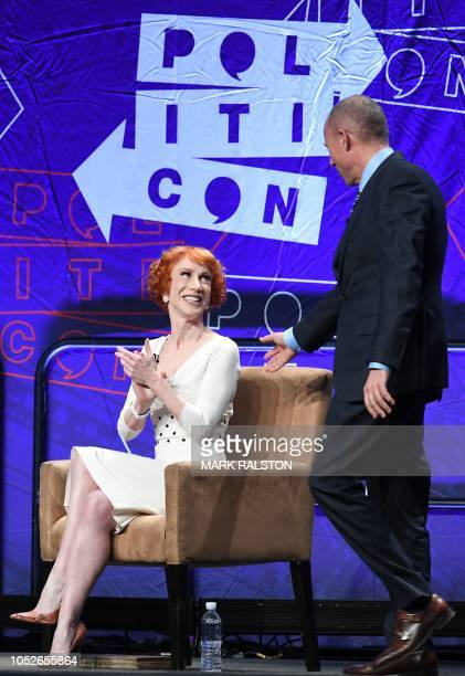 Attorney Michael Avenatti and comedian Kathy Griffin speak at the 'How to Beat Trump' panel at the 2018 Politicon in Los Angeles, California on...