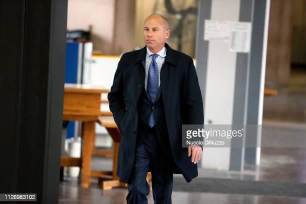 Attorney Michael Avenatti arrives at the Leighton Criminal Courthouse for R Kelly's first court appearance on February 23 2019 in Chicago Illinois