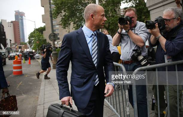 Attorney Michael Avenatti arrives at the United States District Court Southern District of New York on May 30 2018 in New York City According to a...