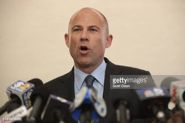 Attorney Michael Avenatti holds a press conference to discuss the arrest of RB singer R Kelly on February 22 2019 in Chicago Illinois Today Cook...