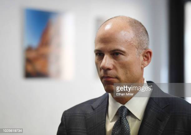 Attorney Michael Avenatti listens to a question during a news conference with Battle Born Progress a progressive communications organization on...
