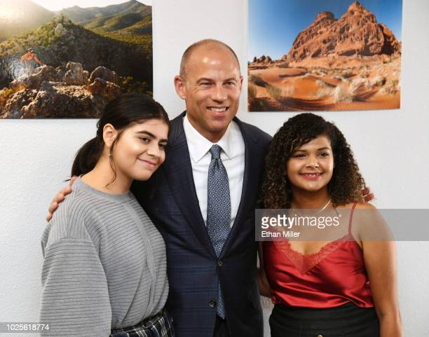 Attorney Michael Avenatti poses for a photo with Alexa Aispuro and Katherine Lorenzo both of Nevada after he held a news conference with Battle Born...