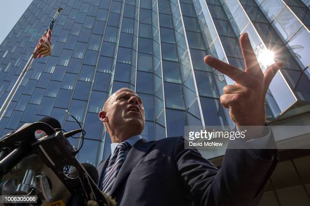 Attorney Michael Avenatti who represents adult film actress Stormy Daniels speaks to reporters during a break in a motions hearing on July 27 2018 in...