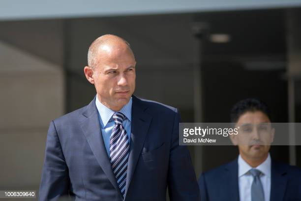 Attorney Michael Avenatti who represents adult film actress Stormy Daniels walks from the courthouse during a break in a motions hearing on July 27...