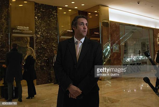 Attorney Michael Cohen arrives at Trump Tower for meetings with Presidentelect Donald Trump on December 16 2016 in New York / AFP / Bryan R Smith