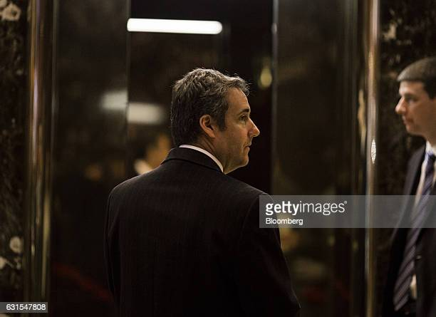 Attorney Michael Cohen arrives at Trump Tower in New York US on Thursday Jan 12 2017 Donald Trump is slated to meet with ATT Inc's top executives on...
