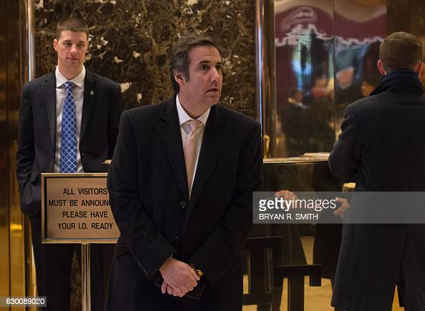 Attorney Michael Cohen arrives to Trump Tower for meetings with Presidentelect Donald Trump on December 16 2016 in New York / AFP / Bryan R Smith