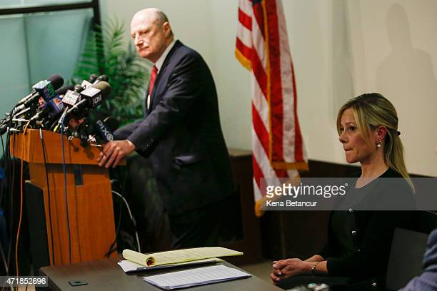 Attorney Michael Critchley speaks at a press conference as his client Bridget Anne Kelly Governor Christie's former deputy chief of staff listens at...