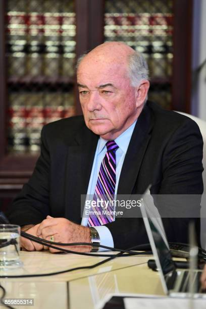 Attorney Michael Maroko attends a press conference about her client's allegations of sexual harassment by Harvey Weinstein at Allred's office October...