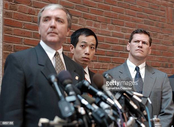 US Attorney Michael Sullivan Assistant US Attorney Colin Owyang and FBI Special Agent in Charge Charles Prouty hold a press conference December 28...
