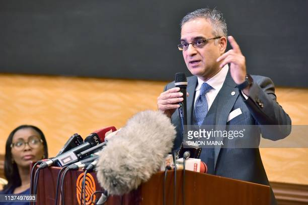 Attorney Nomaan Husain speaks at a press conference on April 16 2019 in Nairobi flanked by Esther Kabau his client as he announced sueing United...