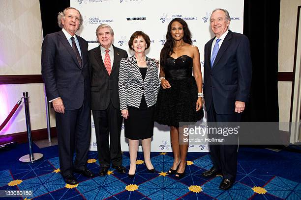 Attorney Norm Brownstein Sen Ben Nelson his wife Diane Nelson Beverly Johnson and Sen Tom Harkin arrive at the inaugural Global Down Syndrome...