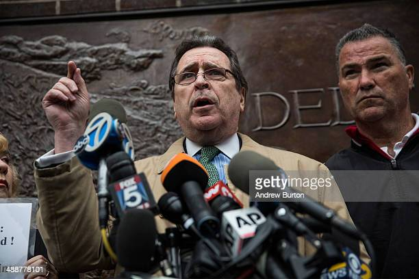 Attorney Norman Siegel and loved ones of people who died on the September 11th 2001 attacks hold a press conference opposing the placement of unknown...