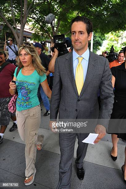Attorney of Debbie Rowe Eric George is seen outside of Los Angeles Superior Court following a hearing to finalize an agreement for permanent custody...