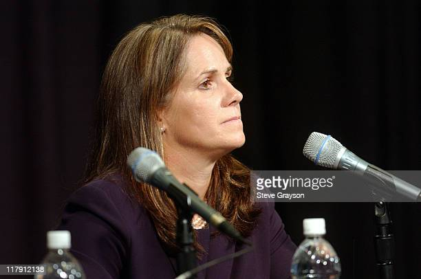 Attorney Pamela Mackey during Kobe Bryant Speaks in Response to Felony Sexual Assualt Charges at Staples Center in Los Angeles California United...