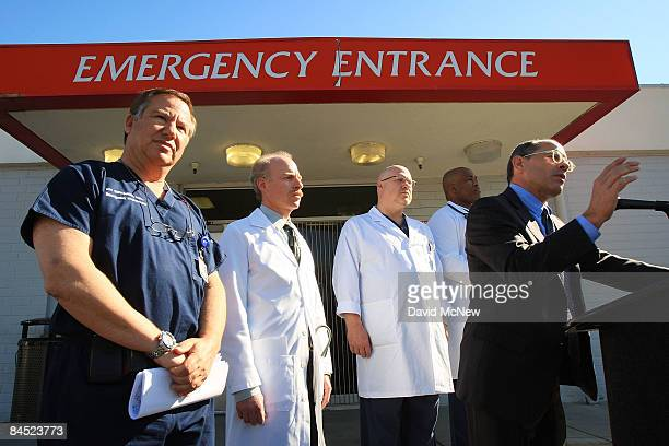 Attorney Raymond Boucher and emergency room doctors hold a press conference at Mission Community Hospital on a class action lawsuit against the state...