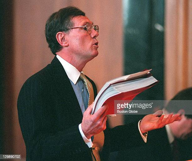 Attorney Richard J Hayes before Justice John Greaney at the Supreme Judicial Court Hayes represents Christy Mihos whom Governor Jane Swift is trying...