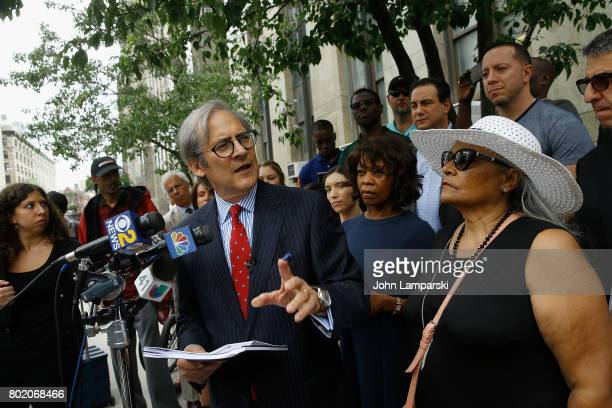 Attorney Robert C Gottlieb Alfre Woodward and Maria Velazquez the mother of Jon Adrian Velazquez speak during a press conference for retrial motion...