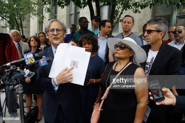 Attorney Robert C Gottlieb Alfre Woodward and Maria Velazquez the mother of Jon Adrian Velazquez and Jason Flom speak during a press conference for...