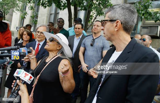 Attorney Robert C Gottlieb and Maria Velazquez the mother of Jon Adrian Velazquez and Jason Flom speak during a press conference for retrial motion...