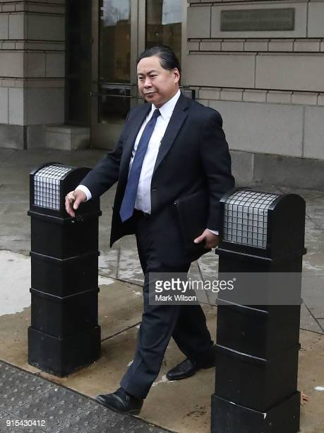 Attorney Shanlon Wu who represents Rick Gates leaves the Federal House after a hearing on February 7 2018 in Washington DC Three attorneys for former...