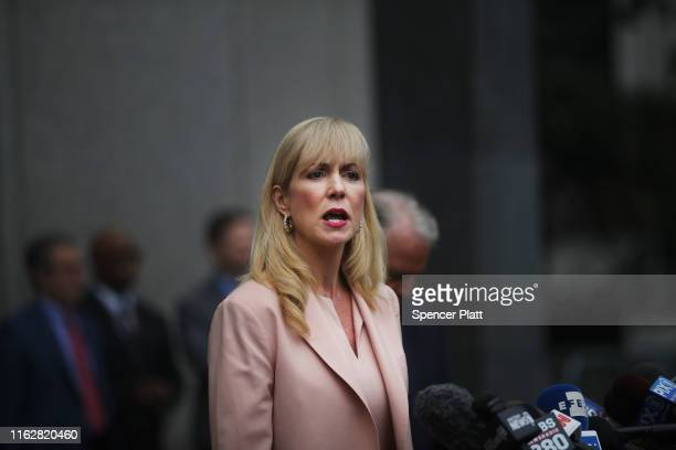 Attorney Sigrid Macawley representing several alleged victims of fund manager Jeffrey Epstein speaks to the media outside of a Manhattan court house...