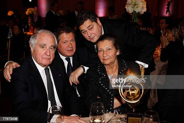 Attorney Simone Veil and family her husband and two sons Jean Pierre Francois attend the Scopus Award dinner given by the Jewish University of...