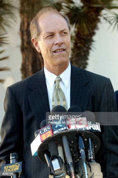 Attorney Steven Cron, representing actress Paula Poundstone, speaks during press conference at the Santa Monica Courthouse after Poundstone appeared...