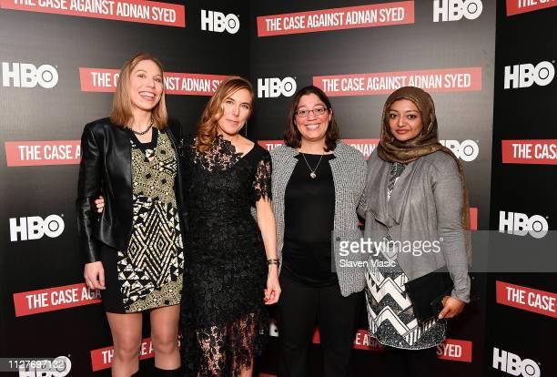 Attorney Susan Simpson director/executive producer Amy Berg participant Laura Estrada Sandoval and participant/producer Rabia Chaudry attend NY...