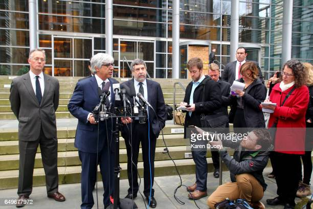 Attorney Theodore J Boutrous Jr speaks to the press outside the courthouse where US District Court for the Western District of Washington at Seattle...