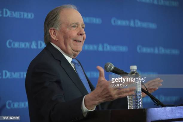 Attorney Thomas Demetrio speaks at a press conference on behalf of Dr David Dao on April 13 2017 in Chicago Illinois On April 9 Dr Dao was forcibly...