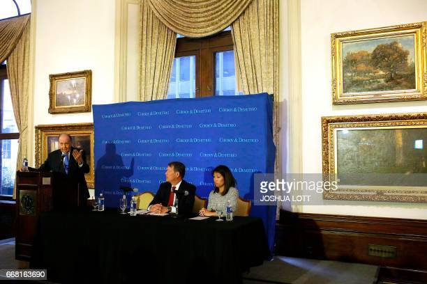 Attorney Thomas Demetrio who is representing Dr David Dao speaks during a news conference as Attorney Stephen Golan and Dao's daughter Crystal Dao...