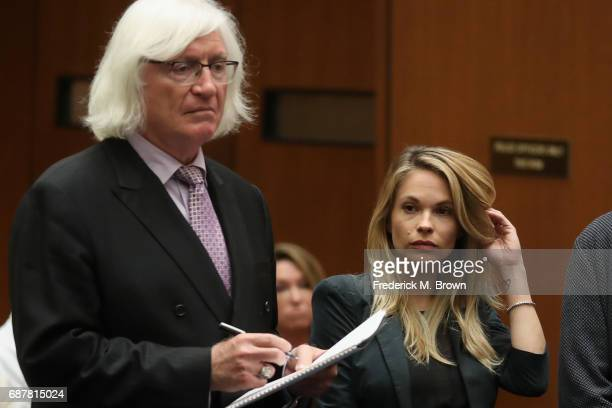 Attorney Thomas Mesereau speaks during a hearing for model Dani Mathers at Clara Shortridge Foltz Criminal Justice Center on May 24 2017 in Los...
