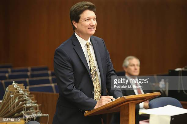Attorney Walter F Wiggins Jr representing Roger Clinton Jr the halfbrother of former US President Bill Clinton speaks during a court appearance at...
