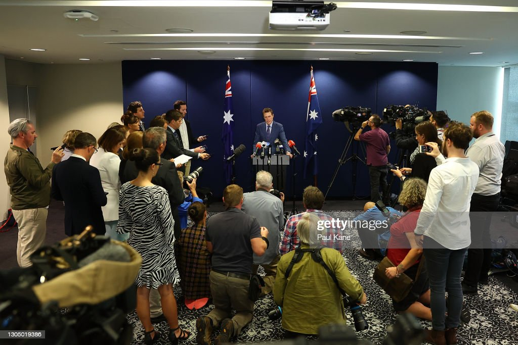 Attorney-General Christian Porter Holds Press Conference : News Photo