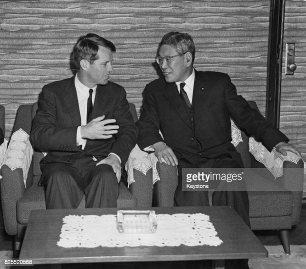 US AttorneyGeneral Robert F Kennedy briefs Japanese Prime Minister Hayato Ikeda before talks with President Sukarno of Indonesia at Ikeda's official...