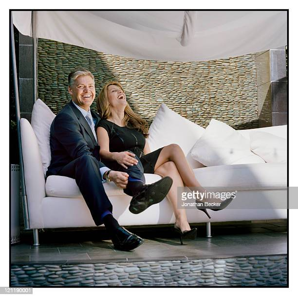 Attorneys and defendants at the Prince Jefri embezzlement trial Thomas Derbyshire and Faith Zaman are photographed for Vanity Fair Magazine on...