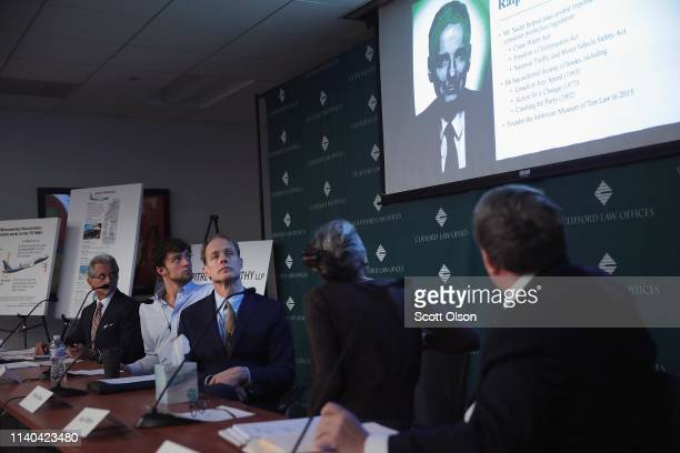 Attorneys and family members of Samya Stumo who was killed in the crash of Ethiopian Airlines Flight 302 listen as consumer activist and former...