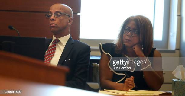 Attorneys Eugene Pettis and Lisa Crawford, representing Broward County Supervisor of Elections Dr. Brenda Snipes, listen during an emergency hearing...