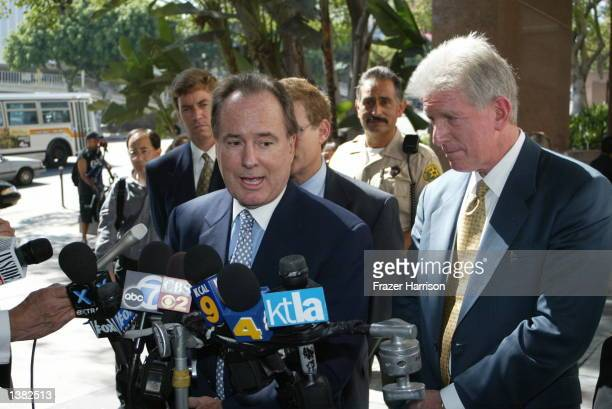 Attorneys for billionare Kirk Kerkorian Terry Christensen and Dennis M Wasser speak to the press after winning the child support payment dispute case...