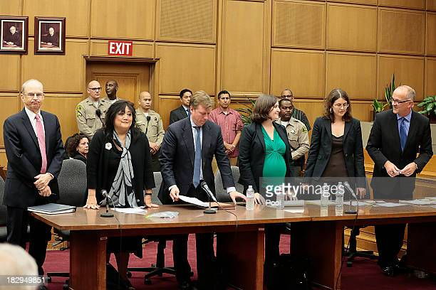 Attorneys for both sides stand as jurors are seated in the conclusion of the Jackson V. AEG Live civil trial for the death of Michael Jackson in the...