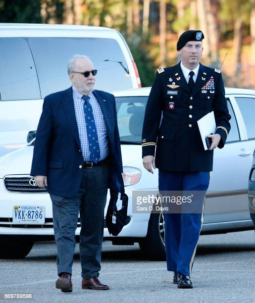 Attorneys for Bowe Bergdahl Eugene R Fidell and Army Lt Col Franklin D Rosenblatt arrive the Ft Bragg military courthouse for deliberations during...