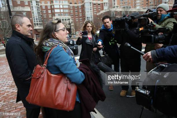 Attorneys for Chelsea Manning, Moira Meltzer-Cohen and Christopher Leibig speak outside the Albert V. Bryan United States Courthouse following a...