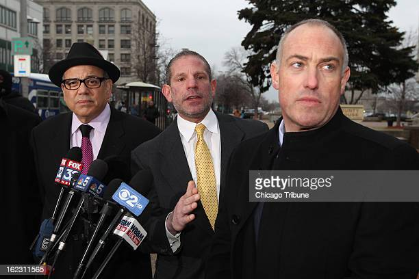 Attorneys for Drew Peterson's defense from left Joe Lopez David Peilet and Steve Greenberg hold a news conference outside the Will County Courthouse...