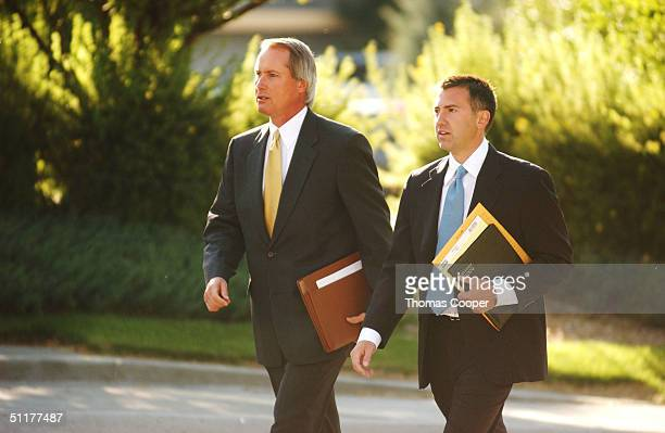 Attorney's for the alleged victim in the Kobe Bryant case Lin Wood and John Clune arrive at the Eagle County Justice Center August 16 2004 for the...