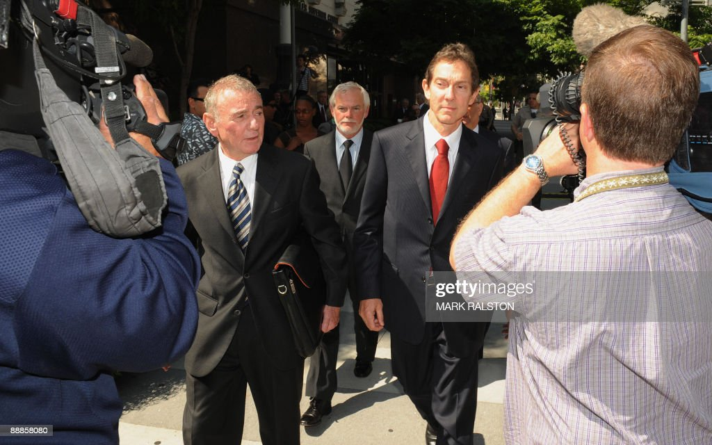 Attorney's John Branca (L) and Howard Weitzman (R) leave leave after they were appointed co-administrators of Michael Jackson's estate, outside of the Superior Court in Los Angeles on July 6, 2009. A judge removed Michael Jackson's mother as administrator of his estate, a day before a gala memorial service to which more than one million people sought tickets. Lawyers for Jackson's 79-year-old mother Katherine clashed with two of the King of Pop's business associates for control of his estate which includes the Neverland Ranch and rights to Beatles songs. But in line with Jackson's will, which emerged last week, Judge Mitchell Beckloff handed the estate over to attorney John Branca and music executive John McClain. AFP PHOTO/Mark RALSTON