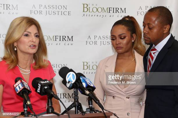 Attorneys Lisa Bloom speaking and Walter Mosely hold a press conference with their client Teairra Mari about new legal action against rapper 50 Cent...
