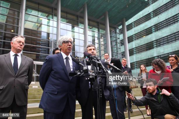 Attorney's Theodore J Boutrous Jr Luis A Cortes Romero and Mark Rosenbaum speak to the press outside the courthouse where US District Court for the...