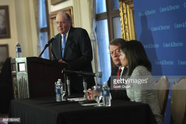 Attorneys Thomas Demetrio and Stephen Golan hold a press conference with Crystal Dao Pepper the daughter of Dr David Dao on April 13 2017 in Chicago...